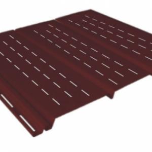 Софит коричневый 0,9 м, тройной, полной перфорации, виниловый софит для крыши Ю-Пласт (0,3х3000мм.)