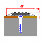 Стык-Порог 46мм алюминиевый Без покрытия (Алюминий) (с резиновой вставкой)
