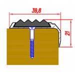Угол-Порог 20х46мм алюминиевый Без покрытия (Алюминий) (с резиновой вставкой)